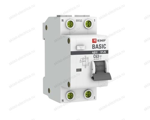 Выключатель автоматический дифференциальный 1P+N 25А 30мА тип АС х-ка C EKF