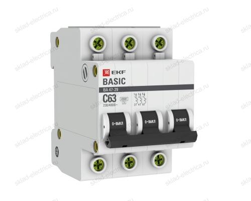 Автоматический выключатель трехполюсный 25А С EKF