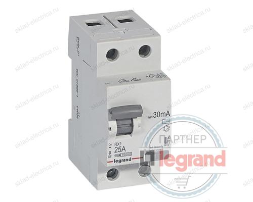 Выключатель дифференциальный двухполюсный (УЗО / ВДТ) 25А 30мА АС Legrand 402024
