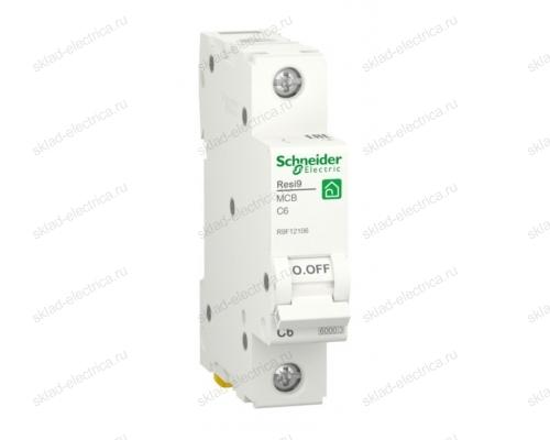 Автоматический выключатель Schneider Electric Resi9 1P 6А (C) 6кА, R9F12106