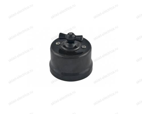 Выключатель поворотный (2-х клавишный) с черной керамической ручкой в черном керамическом корпусе