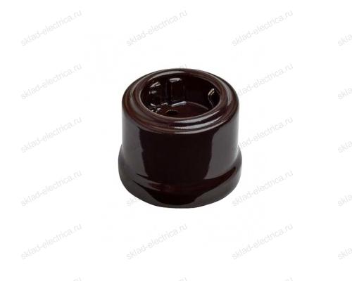 Розетка 2К+З в коричневом керамическом корпусе