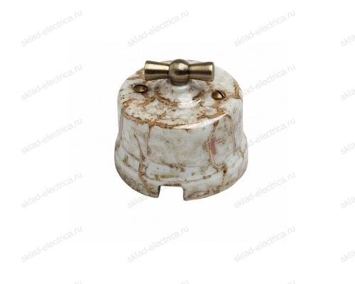 Выключатель поворотный (2-х клавишный) с бронзовой ручкой в керамическом корпусе Мрамор