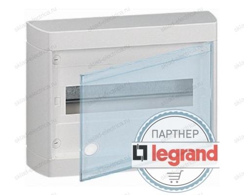 Щит Legrand Nedbox накладной на 12 (+1) модулей (1х12) с шинами N+PE с прозрачной дверью