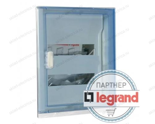 Щит Legrand Nedbox в нишу на 24 (+4) модуля (2х12) с шинами N+PE с прозрачной дверью