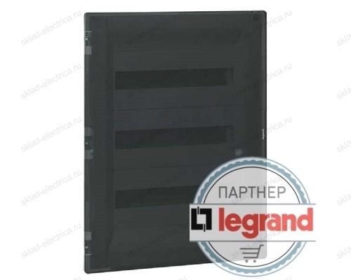 Распределительный щиток Legrand Practibox3 в нишу на 2x12 модулей с клеммником PE, прозрачная дверь