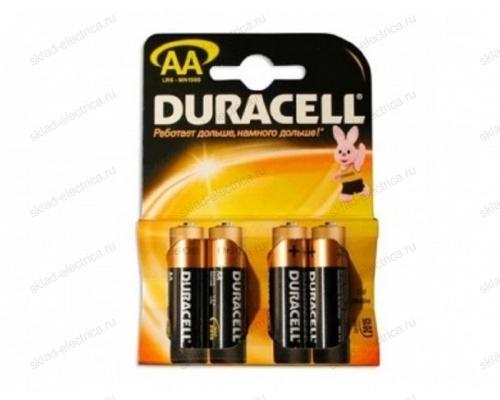 Батарейка AA/LR06 пальчиковая Duracell блистер 4 шт