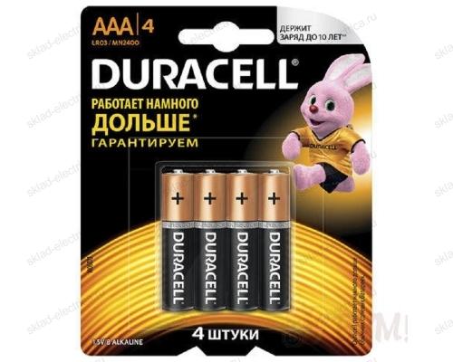 Батарейка AAA/LR03 мизинчиковая Duracell блистер 4 шт