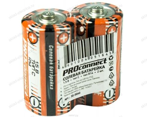 Солевая батарейка Proconnect C (R14) 30-0040