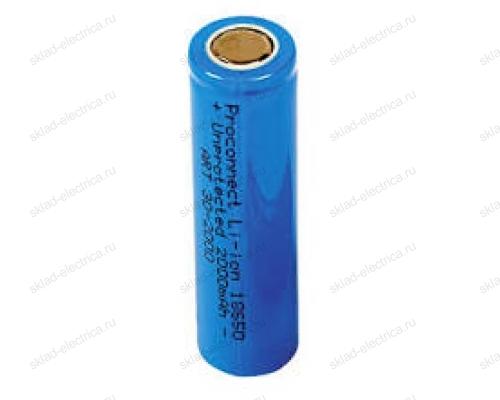 Аккумулятор Proconnect 18650 unprotected Li-ion 2000 mAH индивидуальная упаковка 30-2000-01