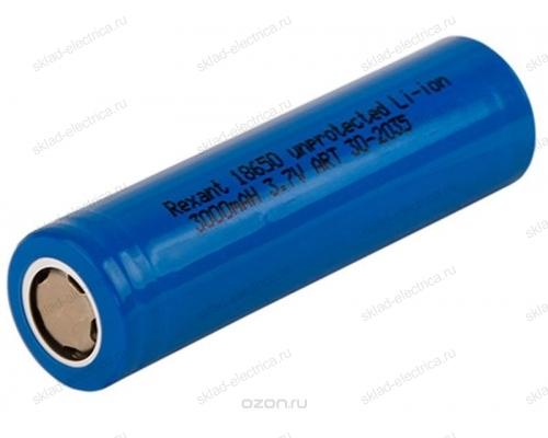 Высокоемкостный аккумулятор Rexant 18650 unprotected 20 А Li-ion 3000 mAH 3.7 В 30-2035