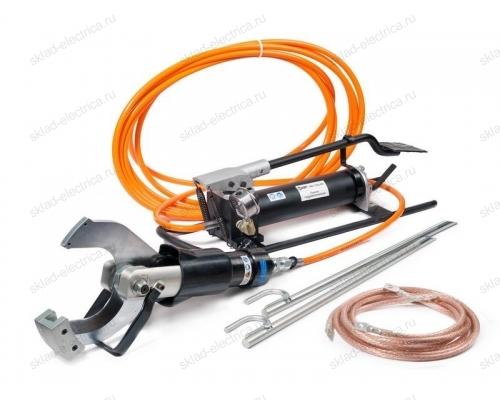 Комплект гидравлических ножниц с ножной помпой для резки кабелей под напряжением НГПИ-105 (КВТ)