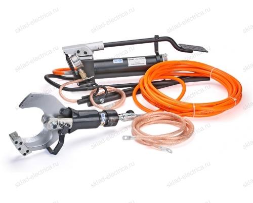 Комплект гидравлических ножниц с ножной помпой для резки кабелей под напряжением НГПИ-85 (КВТ)