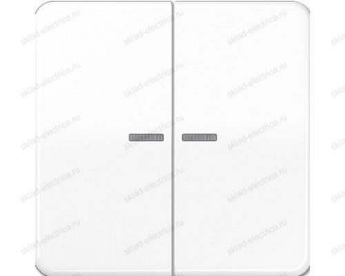 Выключатель двухклавишный с подсветкой Jung CD500 505U5+CD595KO5WW цвет белый