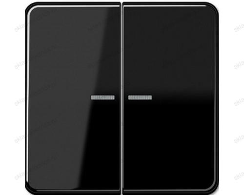 Выключатель двухклавишный с подсветкой Jung CD500 505U5+CD595KO5SW цвет черный