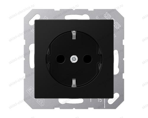 Розетка 2К+З 16 А 250В~ , цвет матовый черный