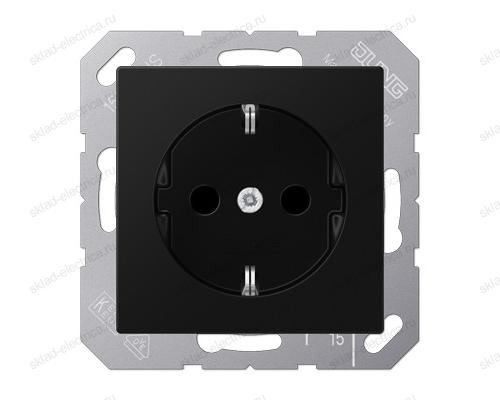 Розетка 2К+З 16 А 250В~ , цвет матовый черный Jung-A