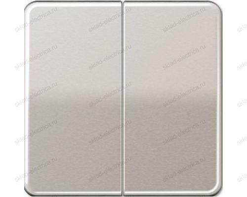Выключатель двухклавишный Jung CD500 505U+CD595PT цвет платина