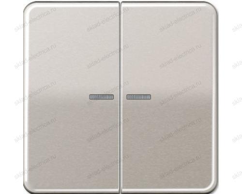 Выключатель двухклавишный с подсветкой Jung CD500 505U5+CD595KO5PT цвет платина