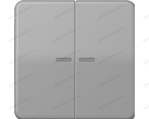 Выключатель двухклавишный с подсветкой Jung CD500 505U5+CD595KO5GR цвет серый