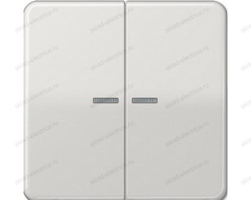 Выключатель двухклавишный с подсветкой Jung CD500 505U5+CD595KO5LG цвет светло серый