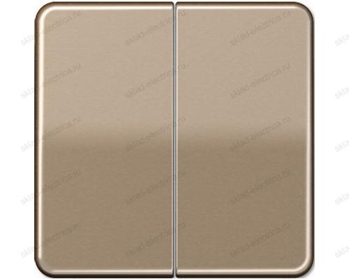 Выключатель двухклавишный Jung CD500 505U+CD595GB цвет золотая бронза
