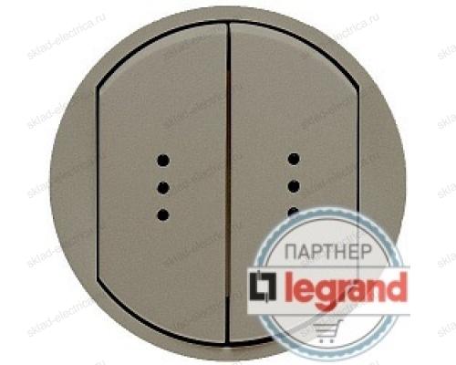 Выключатель двухклавишный (универсальный) с подсветкой Legrand Celiane 10А (титан) 68304 - 67686 - 67686 - 67001 - 67001 - 80251