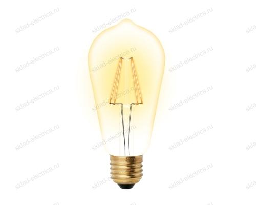 LED-ST64-5W-GOLDEN-E27 GLV22GO Лампа светодиодная Vintage. Форма конус. золотистая колба. Картон. ТМ Uniel