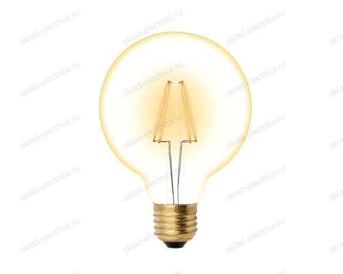 LED-G95-6W-GOLDEN-E27 GLV21GO Лампа светодиодная Vintage. Форма шар. золотистая колба. Картон. ТМ Uniel