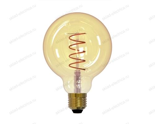 LED-G95-4W-GOLDEN-E27-CW GLV21GO Лампа светодиодная Vintage. Форма шар. золотистая колба. Cпиральная нить.