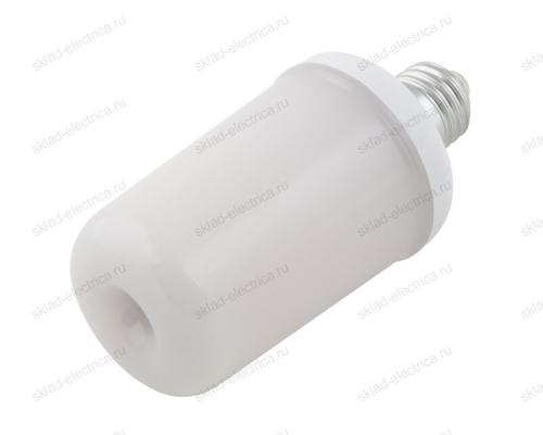 LED-L60-6W-FLAME-E27-FR PLD01WH Лампа светодиодная декоративная с типом свечения эффект пламени. Форма цилиндр. матовая.