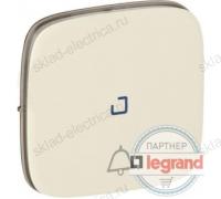 Кнопочный выключатель с символом звонок c подсветкой Legrand Valena Allure слоновая кость 752011+67686+755091