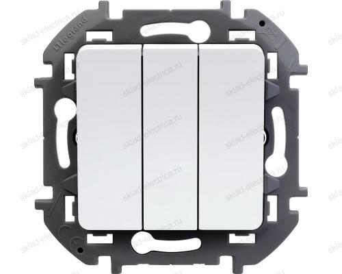 Выключатель трехклавишный Legrand Inspiria белый 673640