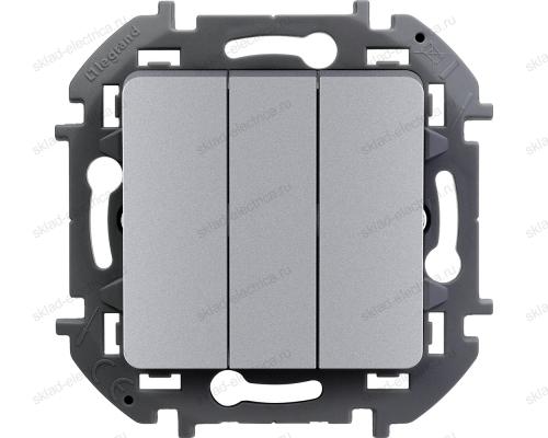 Выключатель трехклавишный Legrand Inspiria алюминий 673642
