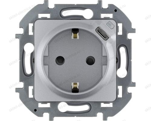 Розетка электрическая Legrand Inspiria алюминий 673772