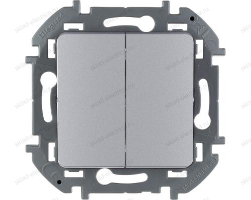 Выключатель двухклавишный Legrand Inspiria алюминий 673622
