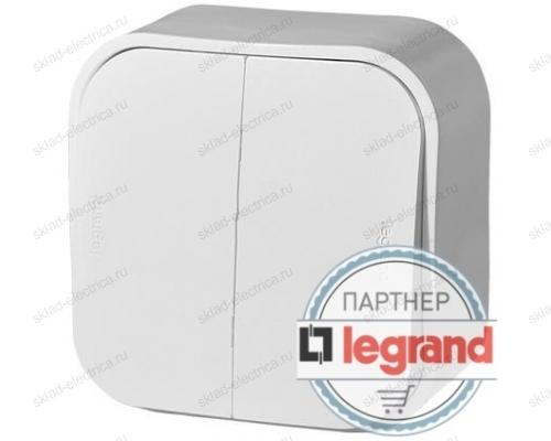 Выключатель двухклавишный белый Legrand Quteo 782202