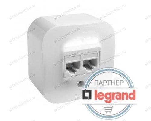 Розетка интернет + телефон RJ45+RJ11 белая Legrand Quteo 782221