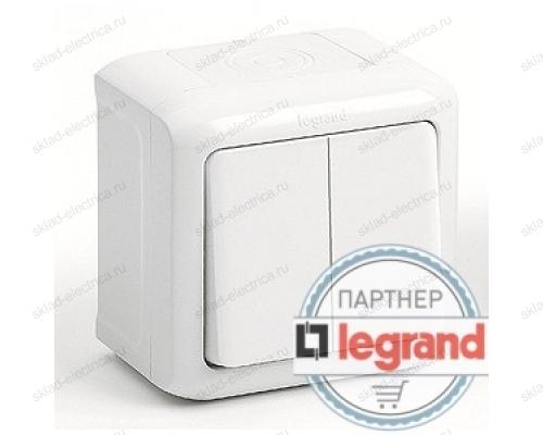 Выключатель 2-клавишный IP-44 Legrand Quteo (Белый) 782302