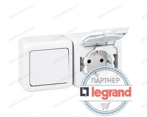 Выключатель + Розетка с заземлением и шторками IP-44 Legrand Quteo (Белый) 782318