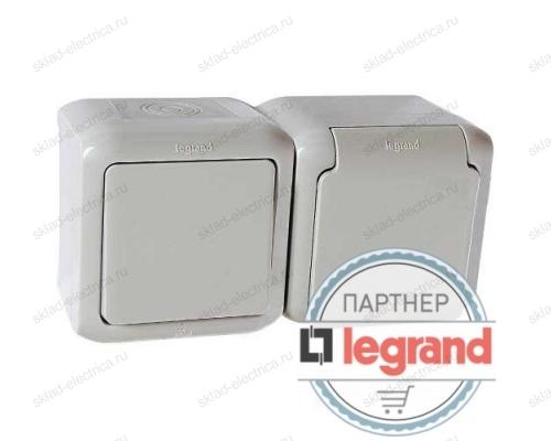 Выключатель + Розетка IP44 Legrand quteo 782348