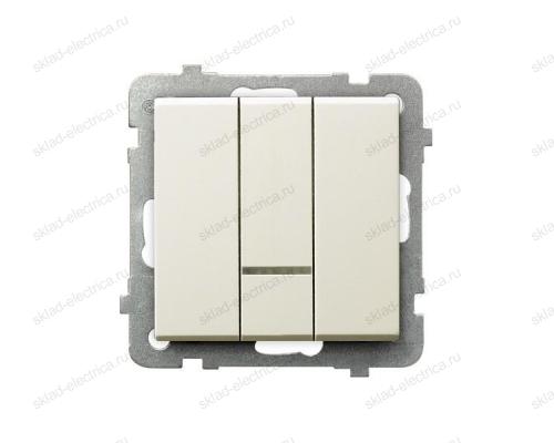Ospel Sonata бежевый выключатель 3-клавишный с подсветкой, без рамки