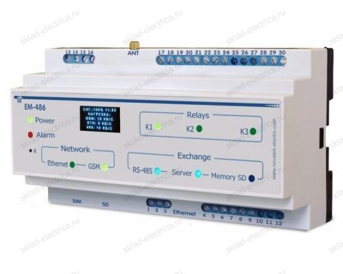Контроллер SMS-оповещения об авариях на Modbus-оборудовании ЕМ-486 Новатек-Электро