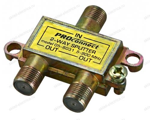 ДЕЛИТЕЛЬ ТВ х 2 под F разъём 5-900 МГц PROCONNECT 05-6031