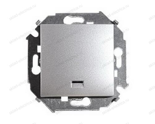 Выключатель 1 клавишный с подсветкой Simon 15 1591104-033 цвет серебро