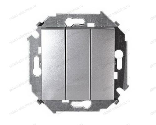 Выключатель 3 клавишный Simon 15 1591391-033 цвет серебро