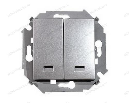 Выключатель 2 клавишный с подсветкой Simon 15 1591392-033 цвет серебро