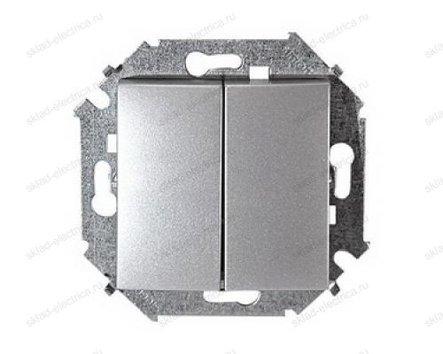 Выключатель 2 клавишный Simon 15 1591398-033 цвет серебро