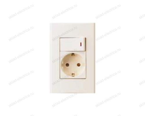 Anam Legrand Zunis Блок Выключатель одноклавишный с подсветкой + розетка с/з, бежевый