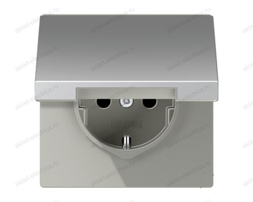LSmetal Розетка с крышкой 2К+З 16А 250В~, алюм.